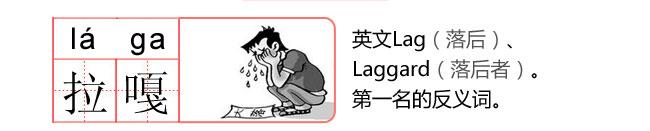 拉嘎 英文Lag(落后) Laggard(落后者) 青岛话